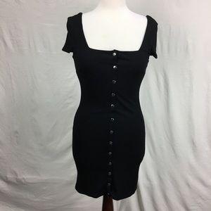 Material Girl Black Metallic Rib Knit Button Dress